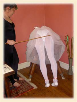 Caned in tights!